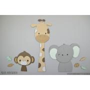 3 Jungle dieren giraf, aap en olifant-beige met te kiezen kleur (58x55cm)