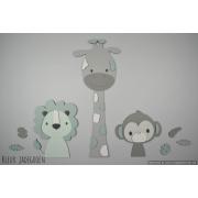 3 Jungle dieren leeuw, giraf en aap - grijs met te kiezen kleur (58x55cm)