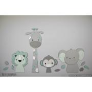 4 Jungle dieren leeuw, giraf,aap,olifant - grijs met te kiezen kleur (100x55cm)