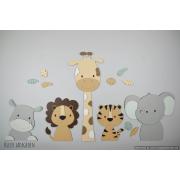 5 Jungle dieren nijlpaard, leeuw, giraf,tijger,olifant - beige met te kiezen kleur (115x55cm)