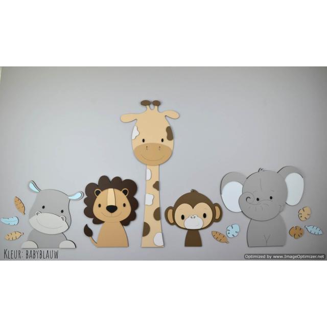 5 Jungle dieren nijlpaard, leeuw, giraf,aap,olifant - beige met te kiezen kleur (115x55cm)