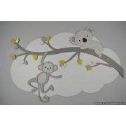 Tak met koala en aapje op wolk achterplaat - kleur te kiezen (94x60cm)