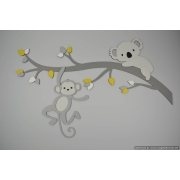 Tak met koala en aapje - te kiezen kleur (94x59cm)