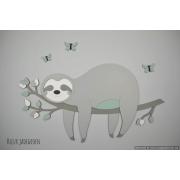 Tak met slapende luiaard grijs met te kiezen kleur (75x40cm)