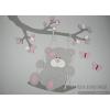 Tak met schommelend beertje en vlinders (met te kiezen kleur) (100x85cm)