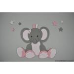 Zittend olifantje met sterren (50x52cm)