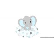 Olifantje met hart-buikje en sterren op wolk achterbord - lichtgrijs met te kiezen kleur (55x55cm)