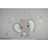 Olifantje met hart-buikje en sterren (60x60cm)