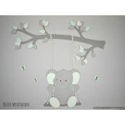 Tak met olifantje op schommel - grijs met te kiezen kleur (90x87cm)