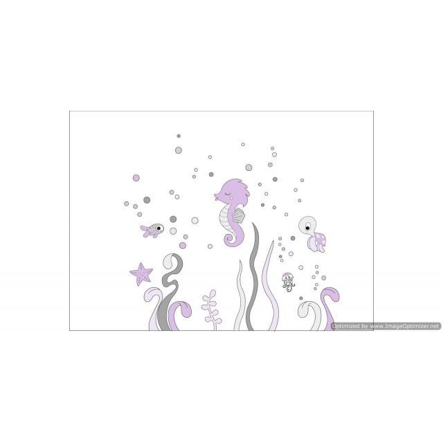 Onderwater wereld met zeediertjes (kleurtint te kiezen) (122x100cm)