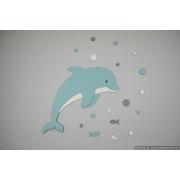 Dolfijn met visjes en gekleurde luchtbellen (50x60cm) - kleur te kiezen